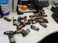 Desk Covered in Mini Mars Bars