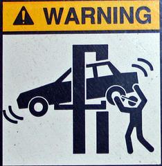 Warning - Gamma Ray Exposed Mechanic Employed Here